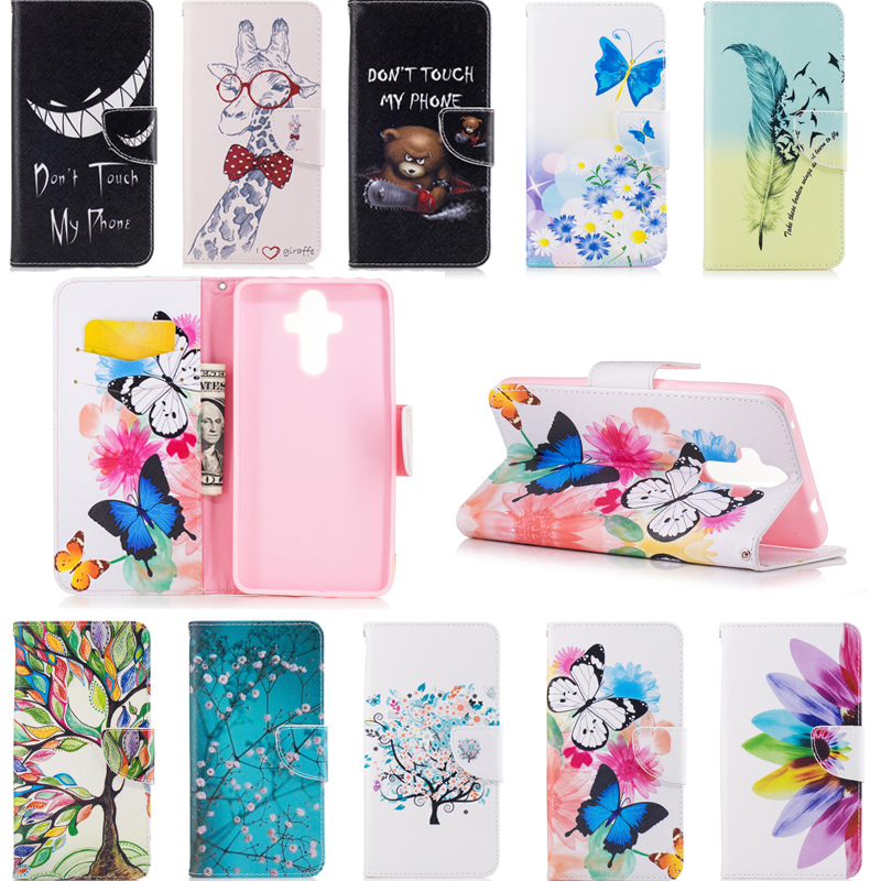 sfor Fundas Huawei Mate 9 Case Painted leather cases Back Cover Mate 9 Pu wallet stent function Phone Bag Capa Mate 9 5.9