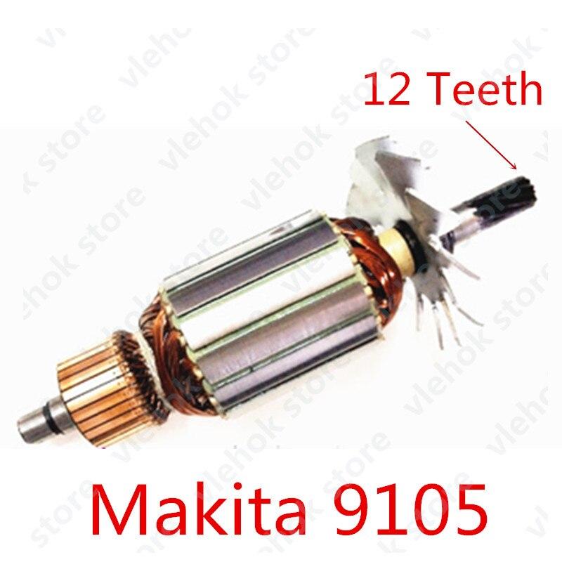 AC 220 V-240 V 12 Dents Armature Rotor remplacer pour Makita 9105 Meuleuse Droite Accessoires D'outils Électriques outils électriques partie
