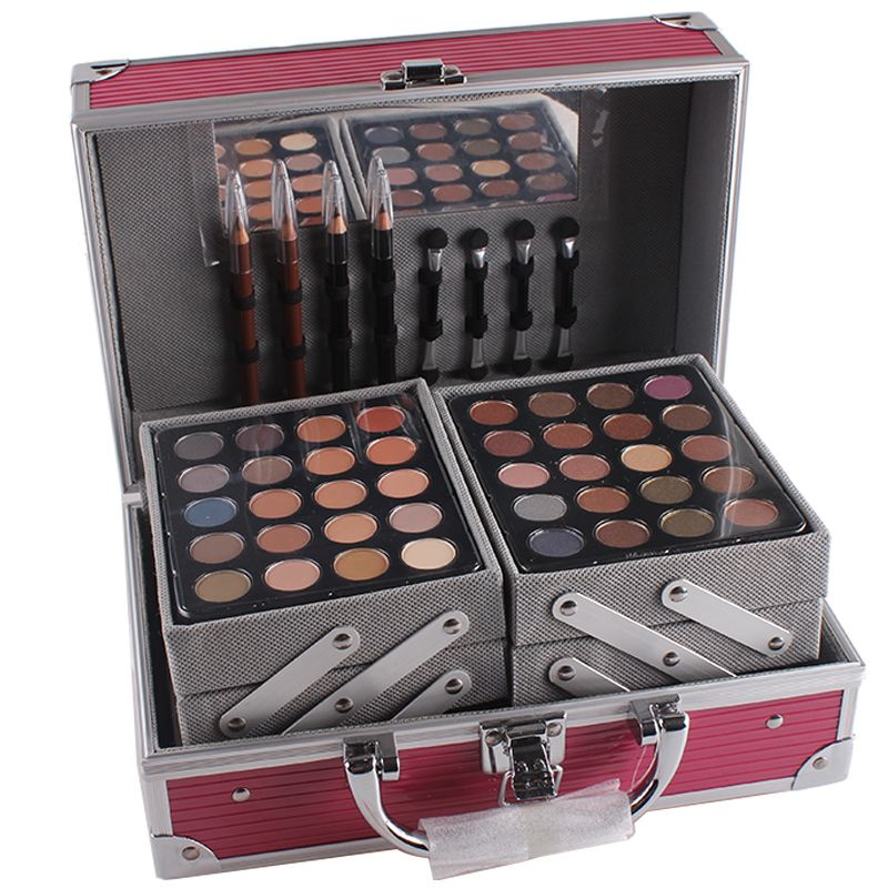 MISS ROSES Professional Makeup Set Aluminum Box With Eyeshadow Blush Contour Powder Palette For Makeup Artist Gift Kit MS004