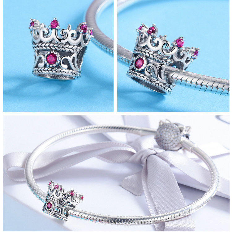 Trendy 925 Sterling Silver Queen's Crown Pink CZ Crystal Charm Beads