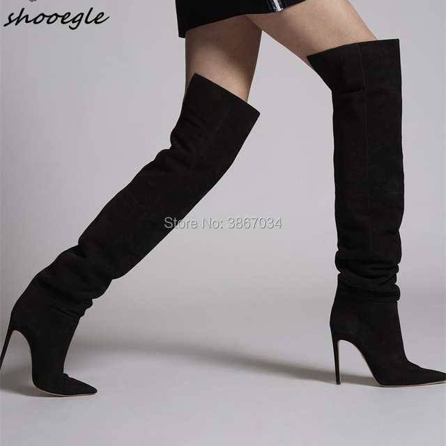 SHOOEGLE Vintage Women Over-the- Knee Boots Pointed Toe 120mm High Heels  Black Thigh High Booties Sip on Stiletto Heels Winter a91a314702c5