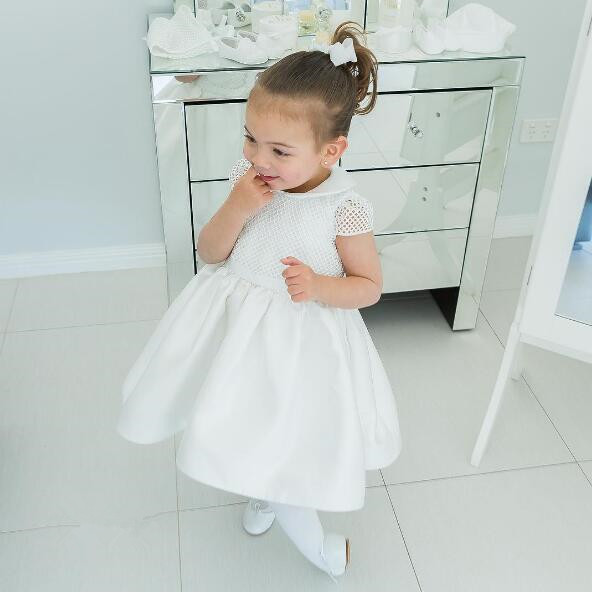 Simple Short Sleeves A Line White Ivory Baby Girls Baptism Outfit