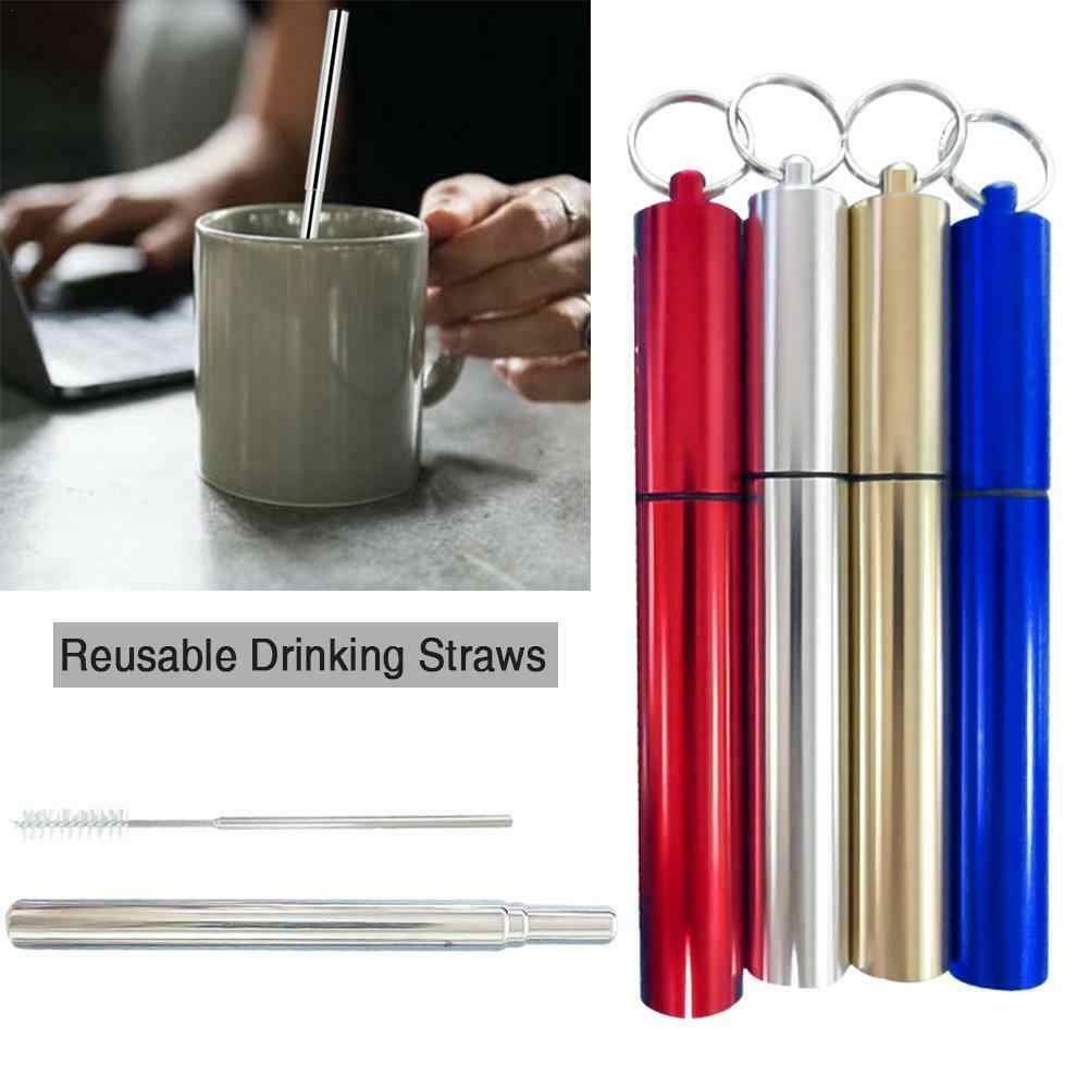 Reusable Drinking Straws Stainless Steel Telescopic Drinking Straw Travel Straw Reusable Straw with 1 Brush and Metal Carry Case