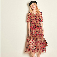 2019 Summer New French Romantic Dress Women Heavy Work Embroidery Organza Holiday Dress Two piece Round Neck High Waist Women