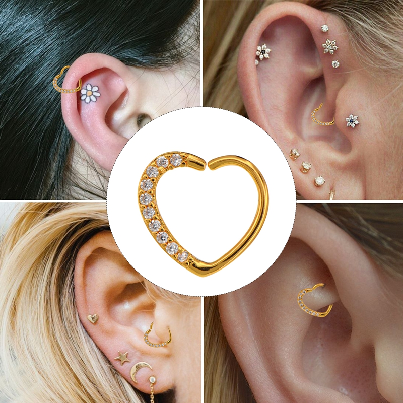 Body Punk Wholesale 10 Pcs/set 16g Piercing Ear Cartilage Heart Right Closure Daith Cartil Tragus Hinged Segment Ring Earrings To Ensure A Like-New Appearance Indefinably Jewelry Sets & More Body Jewelry