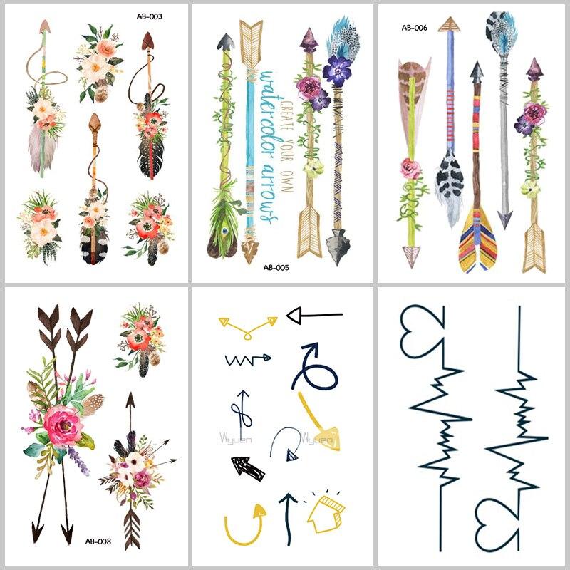 Wyuen NEW Hot Design Temporary Tattoo Tatoo for Adults Waterproof Sticker Arrows Pattern Body Art Make Up Fake AB-007