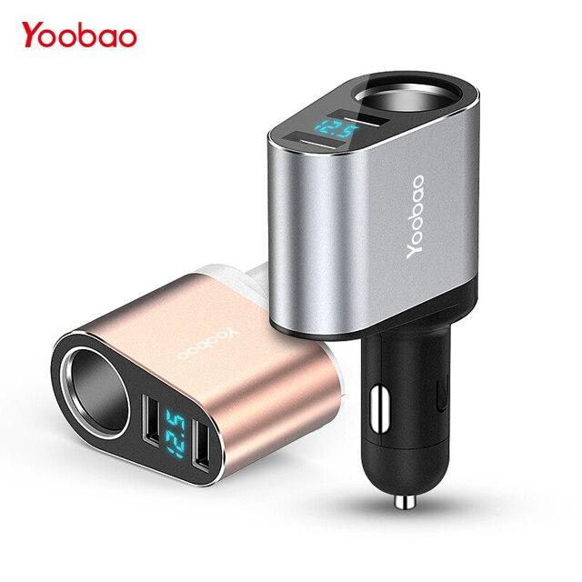 Yoobao 2 USB Автомобильное зарядное устройство 2.4A Быстрая зарядка ЖК-тестер напряжения 3 в 1 Универсальное автомобильное зарядное устройство для Xiaomi Mi для iPhone X 8 7 6 5 4 s