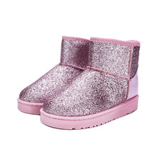 Buy Women Boots Ankle 2018 Winter Bling Snow Boots Woman Flats Ladies Shoes Plush Fur Boots Slip-on Luxury Shoes Women Designers directly from merchant!