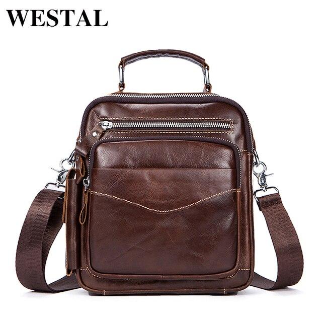 WESTAL Messenger Bags Men Genuine Leather Crossbody Bags Shoulder Bag  Zipper Men Vintage Leather Handbags Flap Casual Bag 389