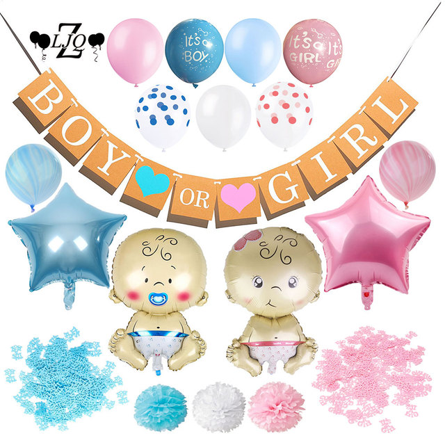 Zljq Gender Reveal Party Baby Shower Decoration Supplies Balloons