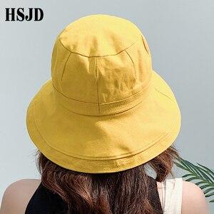 Image 5 - 2019 yeni fransız bez geniş ağız güneş balıkçı şapka yaz kadın şapka açık seyahat katlanabilir katı kova şapka Anti UV plaj şapkası