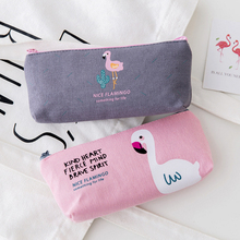 1pcs/lot Korean Cute Flamingo Canvas Pen Bag Gray Green White Powder Four Selections