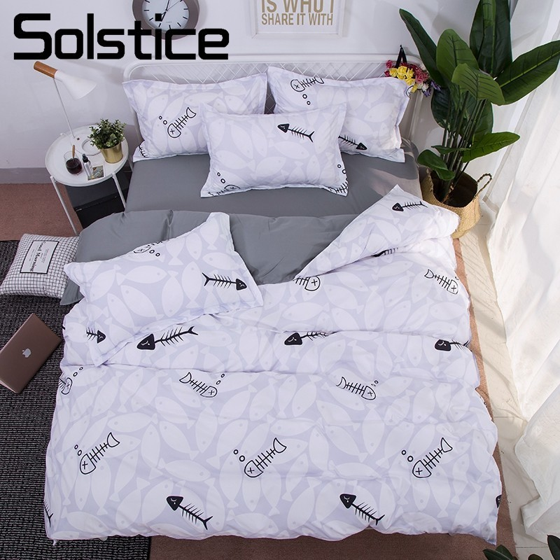 Solstice Pillowcase Bedding-Sets Duvet-Cover Flat-Sheet Fish-Bedlinen Home-Textile King-Queen