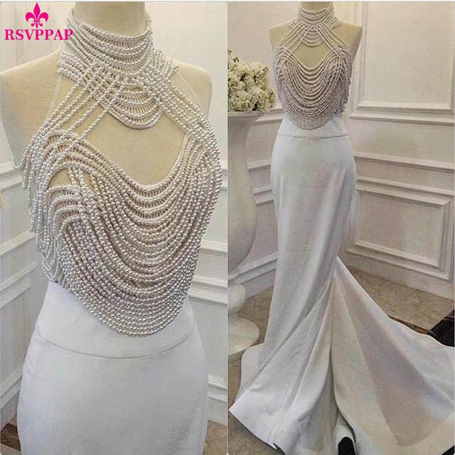 Luxo Branco Vestido de Baile para a Menina Alta Pescoço Fora do Ombro pérolas Top Cetim Stretch Imagem Real Longas Sereia Vestidos de Baile 2017