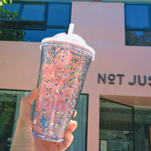 420ml Creative Lovely Double Layer Sequin Plastic Straw Cup Eco-Friendly Travel Portable Girl Women Juice Bottles