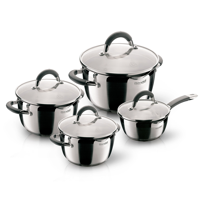 Набор посуды Rondell Flamme 8 предметов RDS-040 (Нержавеющая сталь, внутренние отметки литража, подходит для всех типов плит, подходит для посудомоечной машины)