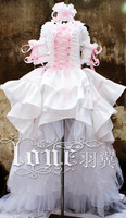 Chobits Heroine Chii Eruda Cosplay Costume Anime Custom Made Pink White Dress