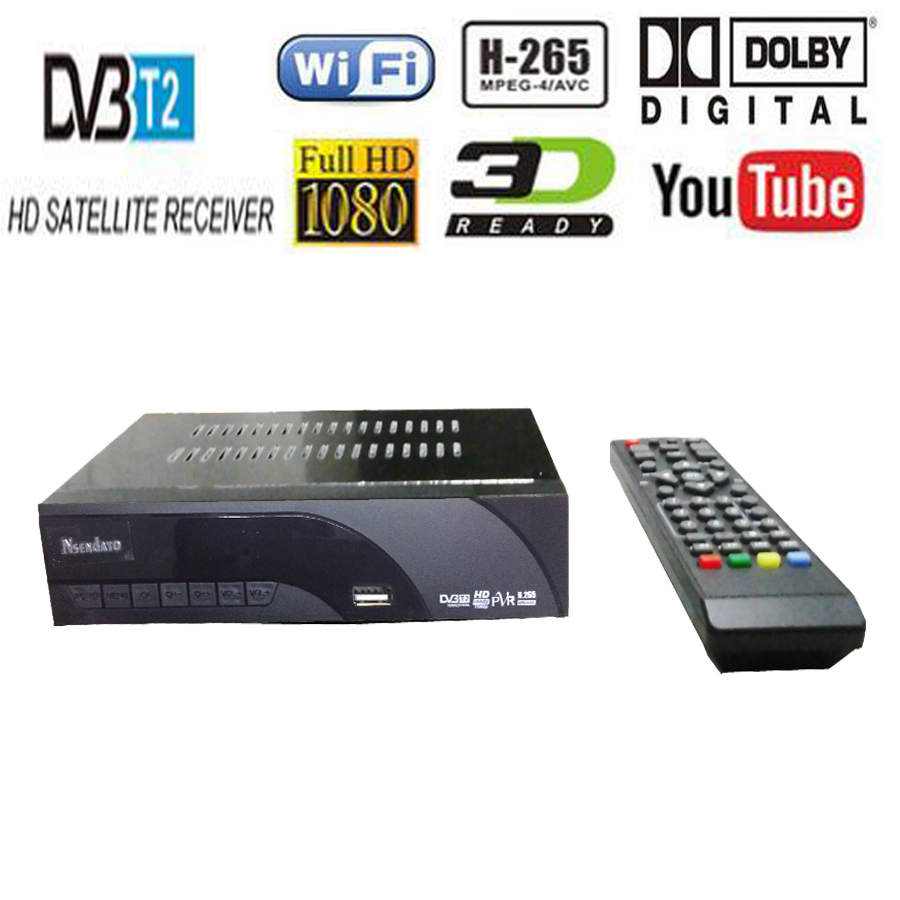 DVB-T2 DVB-T H.265 HEVC Numérique HD Récepteur de TÉLÉVISION Par Satellite Prend En Charge Dolby Youtube DVB T2 T MPEG-2 Tuner TV Boîte Avec télécommande