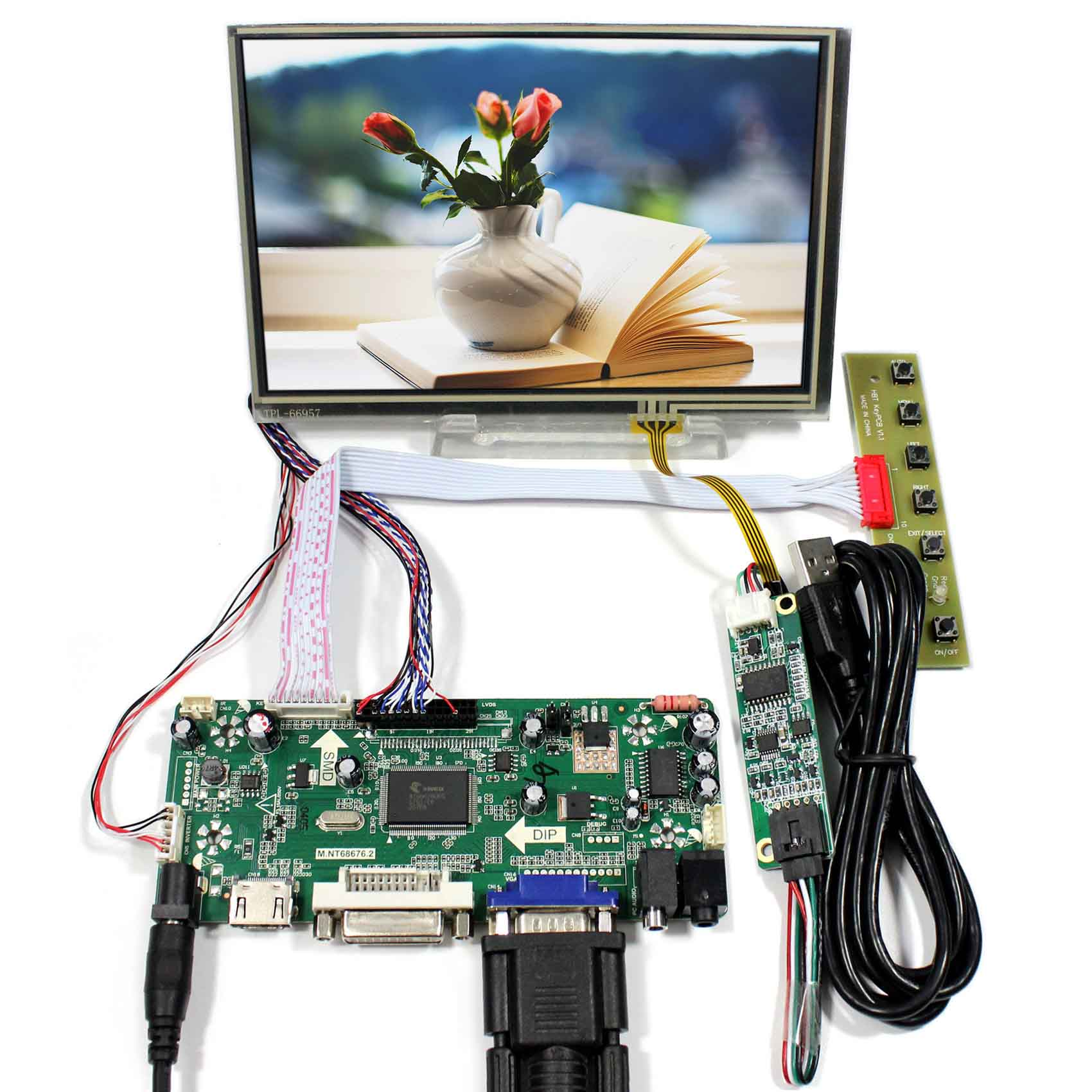 HDMI DVI VGA Audio LCD Controller Board With 7inch 1280x800 N070ICG-LD1 Touch LCD