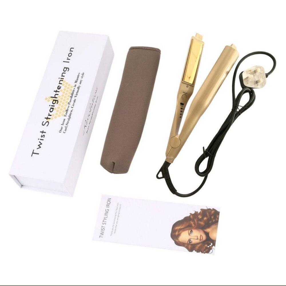 Pro 2 in 1 Twist Hair Curling & Straightening Iron Hair Straightener Hair Curler Wet & Dry US/UK/EU/AU plug dropshipping