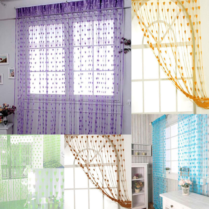 String Curtain For Living Room Door Tassel Screen Divider Window Blind Drape Heart Panel Chinese Curtains