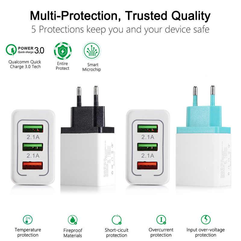 Uniwersalny 18 W USB szybkie ładowanie 3.0 5 V 3A dla Iphone 7 8 ue wtyczką amerykańską telefon komórkowy szybkie ładowarka ładowania dla Samsug s8 s9 Huawei