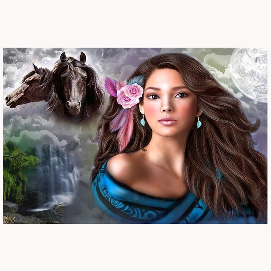 5D full gear diamond embroidery kit Horse & beauty girl pattern diamond painting mosaic bead picture of rhinestones gift ZC451