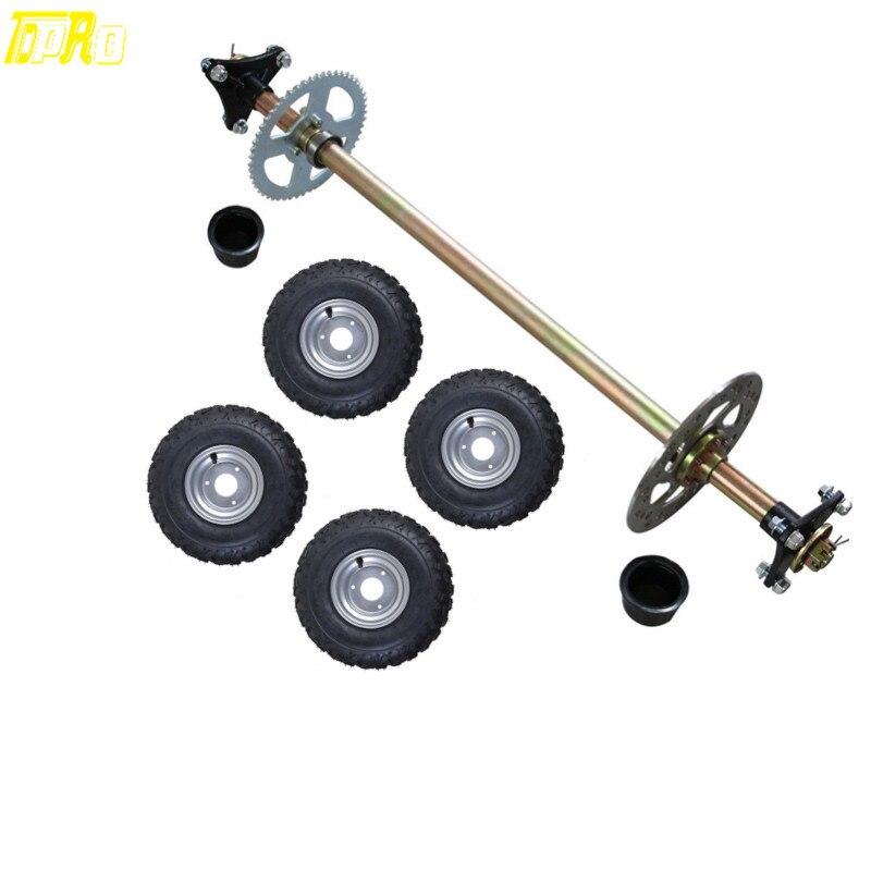 Go Kart Rear Axle Assembly Kit + 6 F+R Wheels Hubs Mini ATV QUAD Buggy 13x5 6