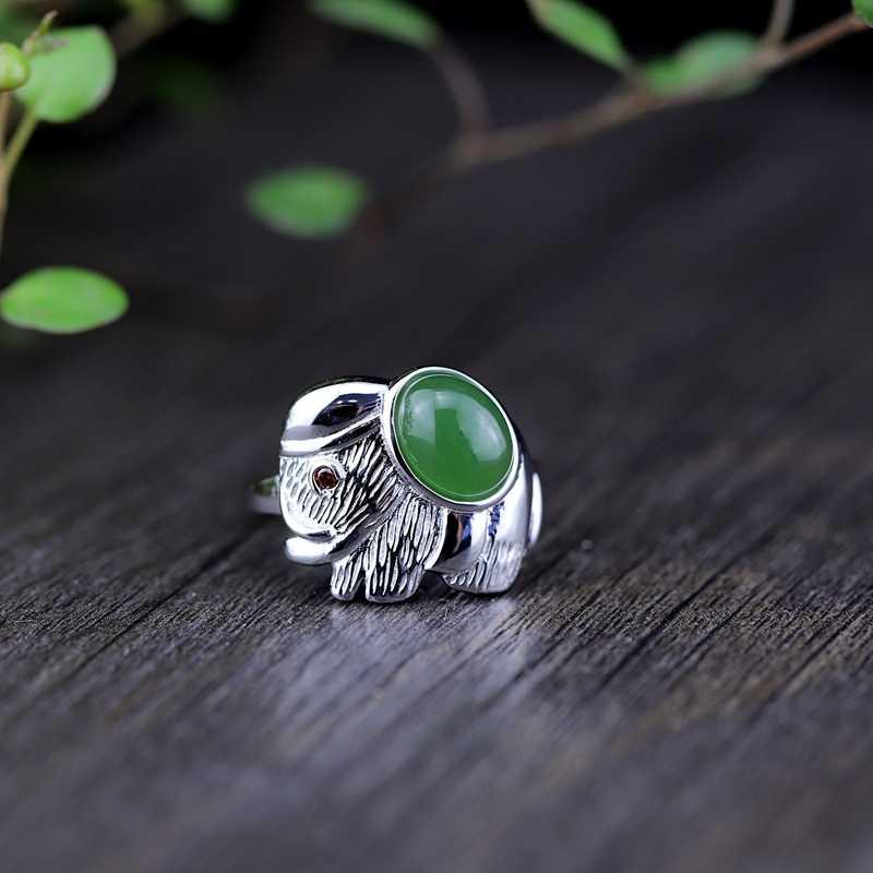 Louleur 925 เงินสเตอร์ลิงช้างหยกธรรมชาติแหวนภาพง่ายออกแบบ temperamen แหวนผู้หญิง 2018 เครื่องประดับช้าง