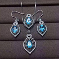 Natural blue topaz gem jewelry sets natural gemstone ring Pendant Earrings 925 silver Elegant luxurious Hollow women jewelry