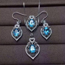 Natural blue topaz gem jewelry sets natural gemstone ring Pendant Earrings 925 silver Elegant luxurious Hollow