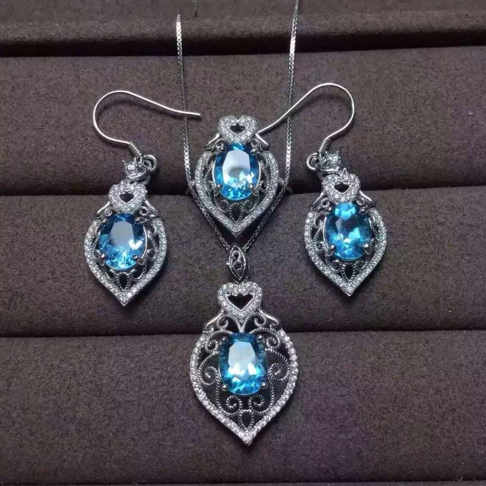 Natural topázio azul jóia Brincos de Pingente de conjuntos de jóias anel de  pedras preciosas naturais 925 de prata Elegante Oco de luxo mulheres jóias 1e6a749eb8