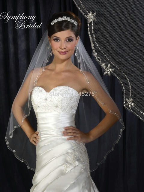 Single tier scallop double beaded edge veu de noiva veil Fingertip length wedding veil wedding accessories 2014 custom-made