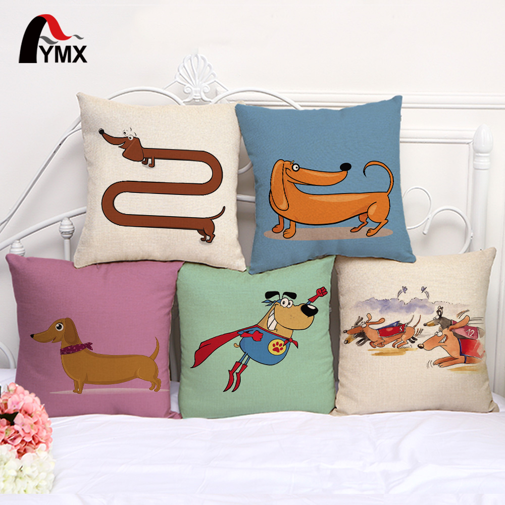 2 Pièce//set Lovely Cartoon Animal Cotton Linen Pillow Cover Case Home Décoration