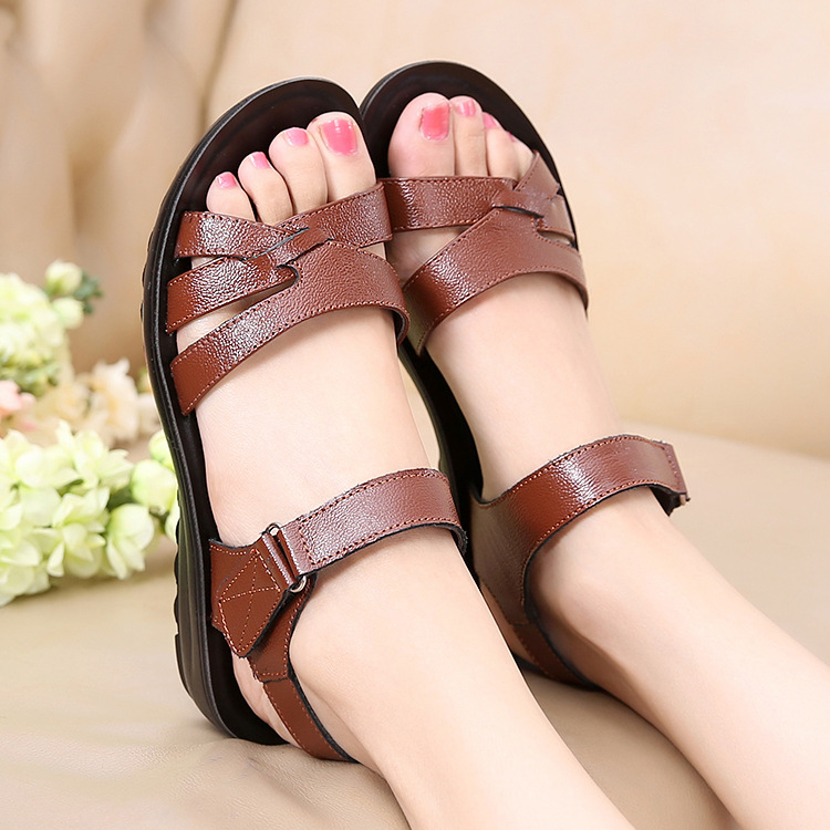 DONGNANFENG Women Old Mother Female Ladies Shoes Sandals Cow Genuine Leather PU Beach Summer Cool Casual Size 35 41 HD C12 in Low Heels from Shoes