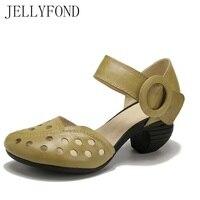 JELLYFOND Brand Designer Women Gladiator Sandals 2018 Handmade Genuine Leather Cuts Out High Heels Vintage Summer
