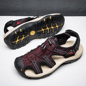 Image 2 - Summer Mesh Men Sandals Outdoor Casual Trekking Beach Slip On Closed Toe Breathable Mens Sandles Plus Size 49s