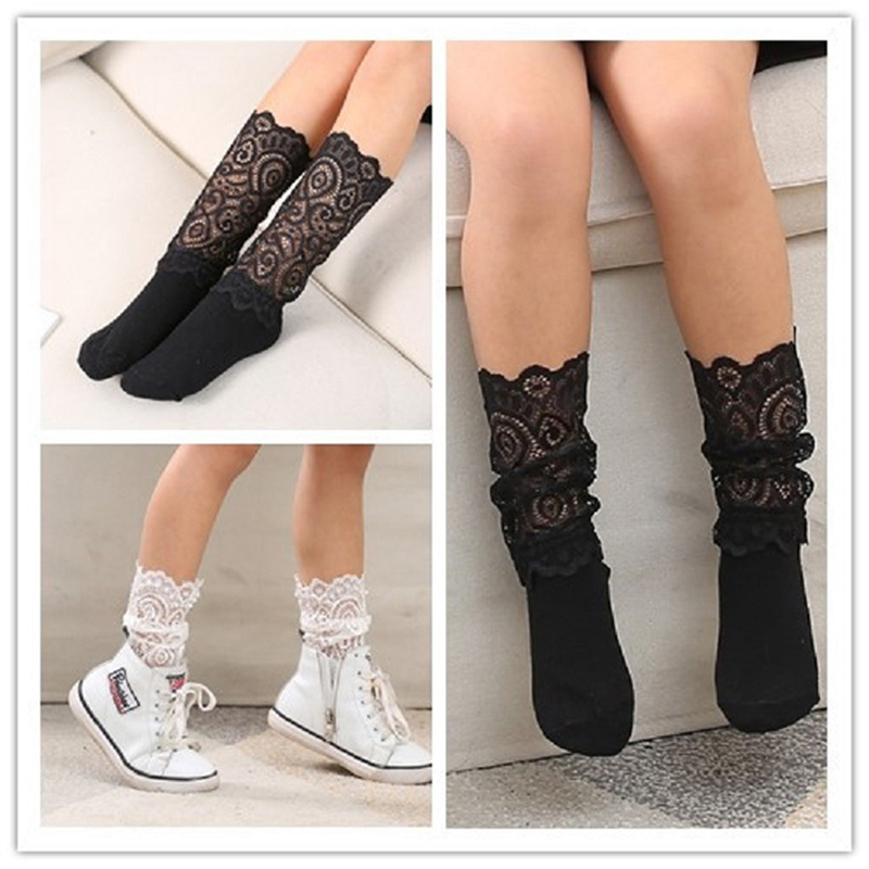 New summer autumn  Comfortable lace socks girl stitching  girls kids hollow mesh  socks