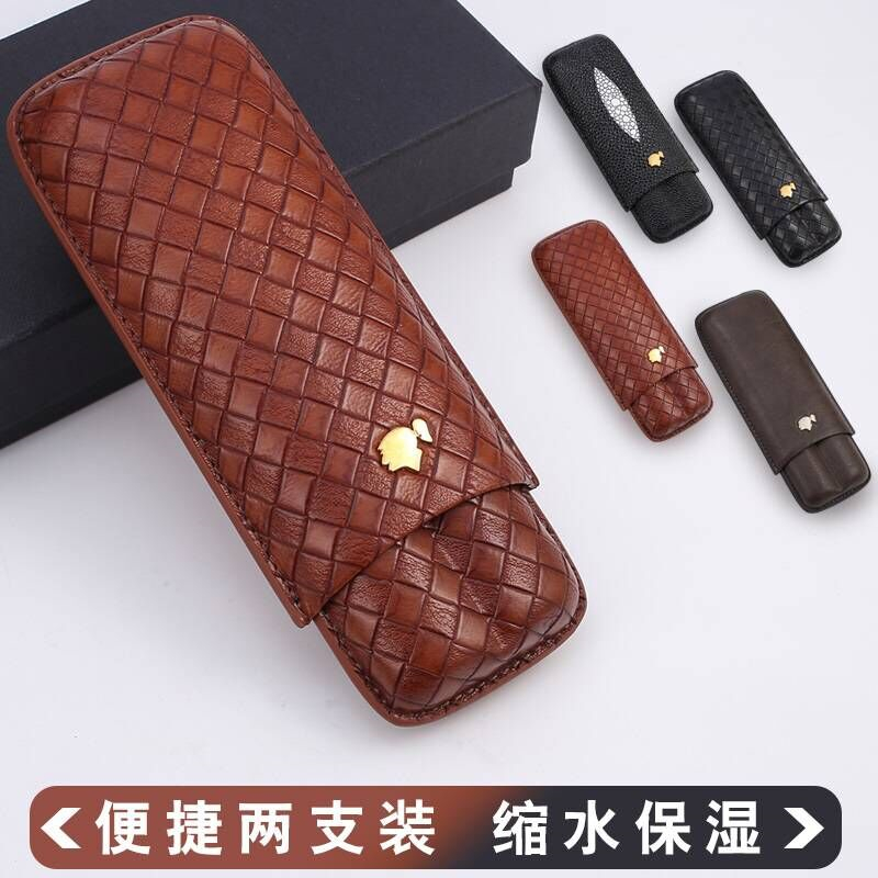 Portable Travel Outdoor Cedar Humidor Case Cigar Holder Ostrich Grain Magnetic Buckle Humidor Leather Wood Lined Storage Box Holds 4 Cigars for Man Gift