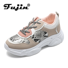 Fujin Women Shoes Korean Version of Snake Dropshipping  Female Spelling White Original Style Casual