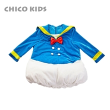 Baby Boys Girls Cartoon Figure Velvet Long Sleeve Rompers W Bowtie Kids Holiday Cartoon Clothes One Piece Jumpsuits cheap Polyester Acrylic Unisex Covered Button Full Sailor Collar 19CK06532 chico kids