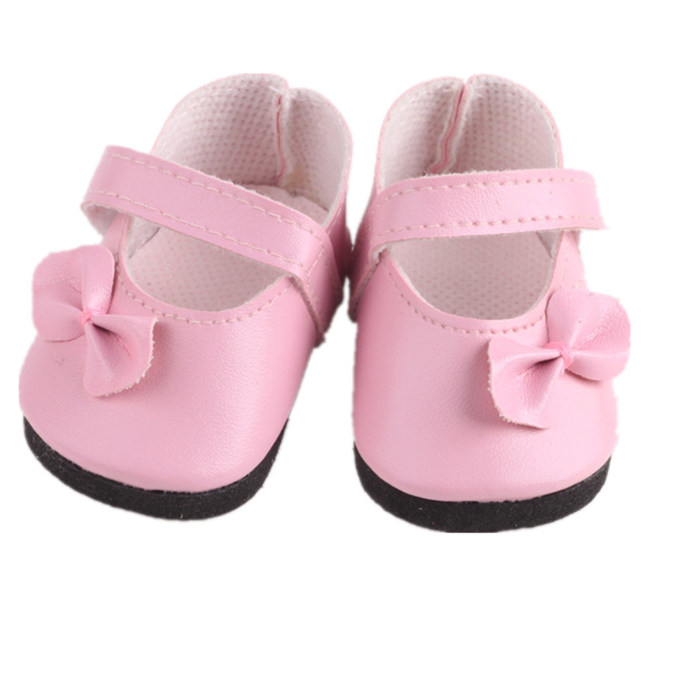 Doll Shoes Pink Bow Tie Leather Shoes For 18 Inch American Doll & 43 Cm Born Doll For Generation Toy Accessories
