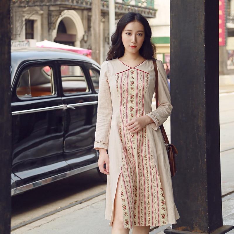 LYNETTE'S CHINOISERIE printemps automne femmes fluide Vintage Slim patte robe à manches longues - 2