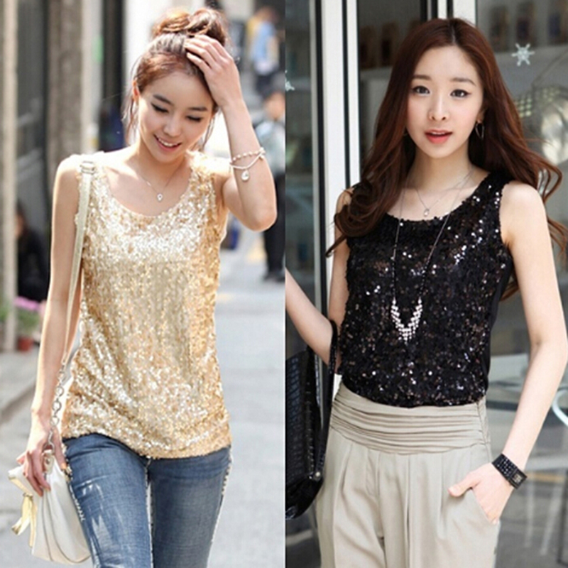 Bigsweety Fashion Plus Size Sexy Sleeveless Tank Tops Sequined Vest Women O Neck Tank Tops Tanks Solid Color Silver Gold Camis