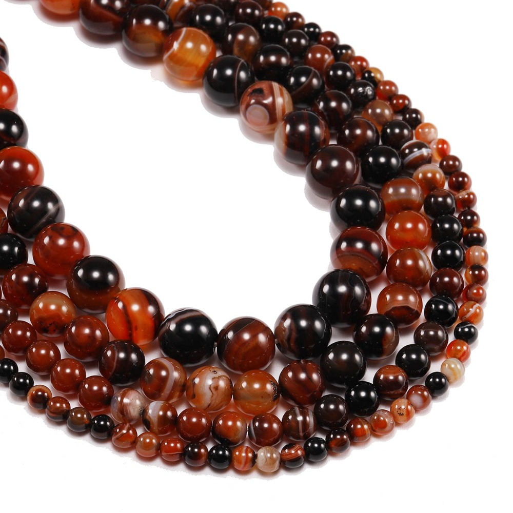 Creative 4 6 8 10 12 Mm Red Natural Stone Stripe Agates Onyx Round Loose Beads For Bracelet Necklace Jewelry Making Diy Bulk Wholesale Beads