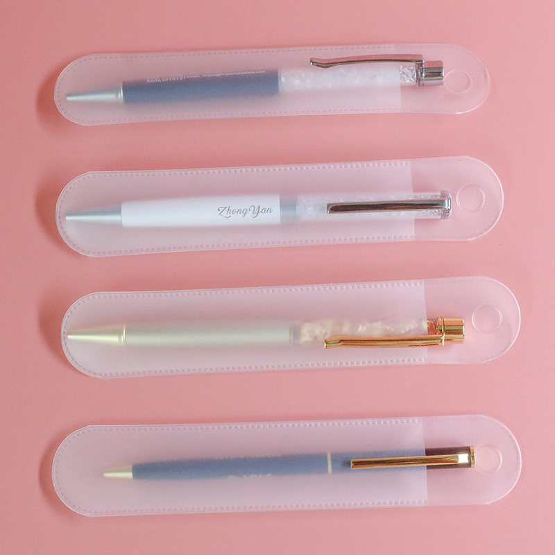 5Pcs School And Office Supplies Creative Plastic Transparent Pen Case Fountain Pen Bag Single Pen Holder Pencil Case Perfect