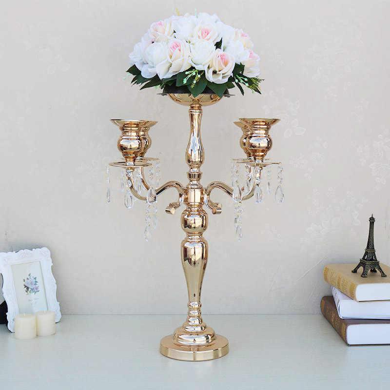 Flover אגרטל מתכת זהב 5-Arms עם קריסטלים פמוטים פמוט לחתונה דקור מנורה 10 יח'\חבילה Stand עמוד 02303