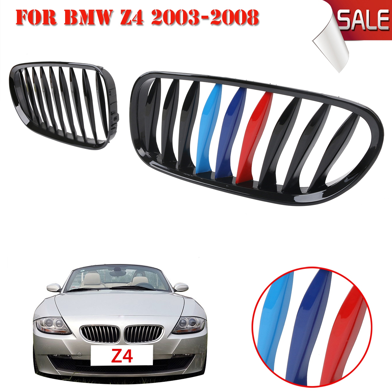 Gloss Black M color Front Kidney Grille Grill For BMW E85 E86 Z4 2003-2008 Convertible Coupe Car Lattice // 4 series f32 f33 f36 front bumper grill gloss black abs car styling grille for bmw f80 m3 f82 f83 m4 replacement car part