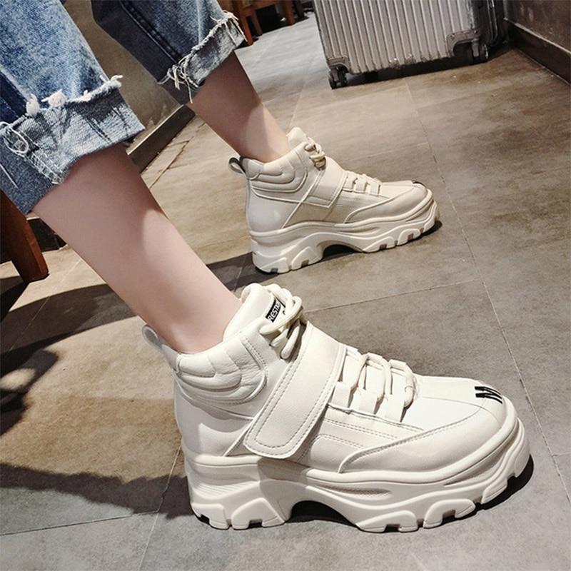 100% QualitäT Plattform Schuhe Frau Höhe Zunehmende Vulkanisieren Schuhe Dicken Boden Haken & Schleife Frauen Große Größe Wasserdicht Stiefeletten Preisnachlass