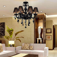 Led E14 European Black Crystal Chandelier LED Light LED Lamp For Foyer Bedroom Dinning Room Lounge